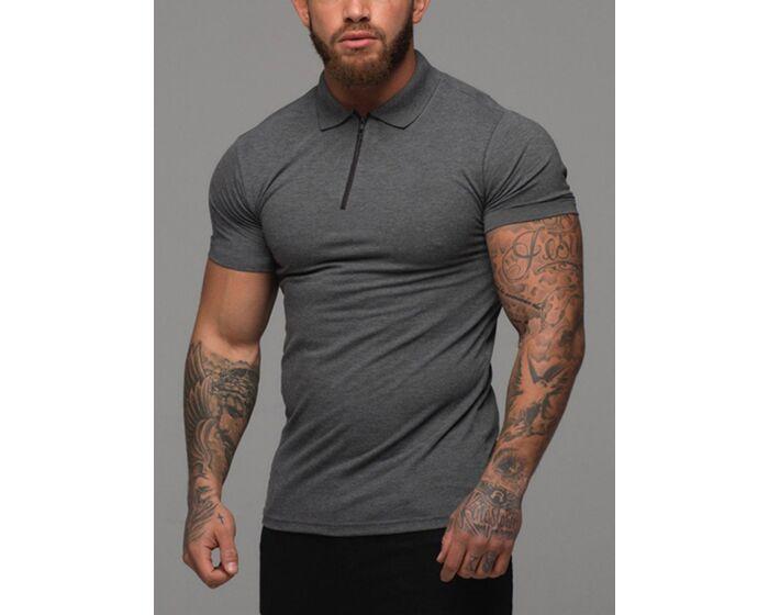Half Zipper Solid Polo T-shirt